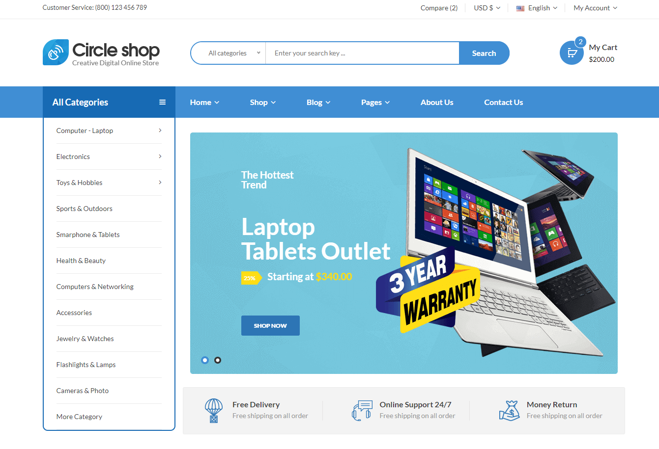 Circle shop – Electronics eCommerce HTML5 Template