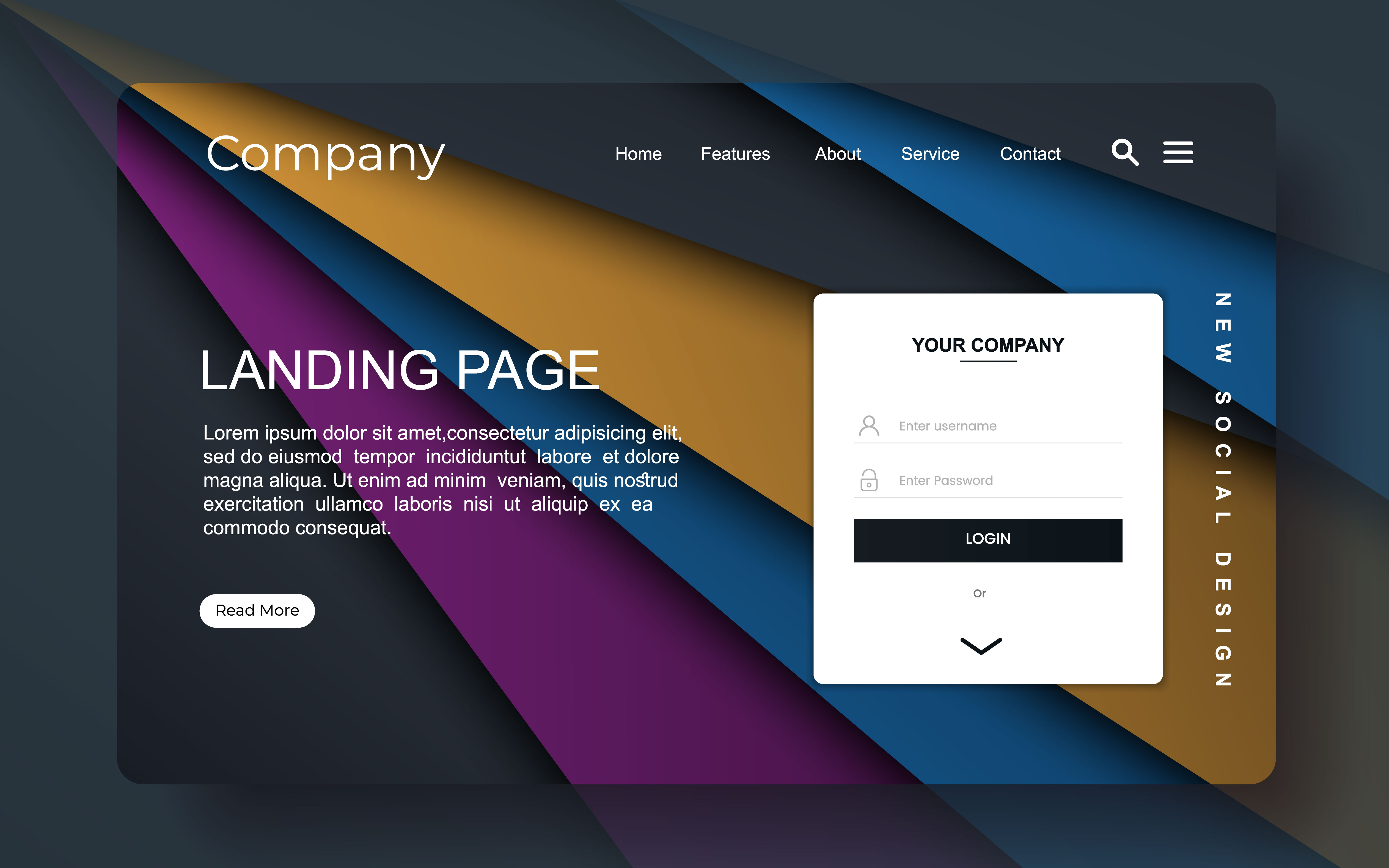 landing page with abstract design