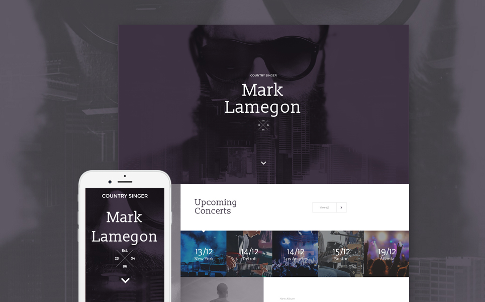 Musical, Landing page HTML template at a price of 14$