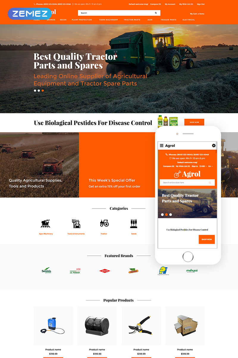 Transportation company, e-commerce OpenCart template