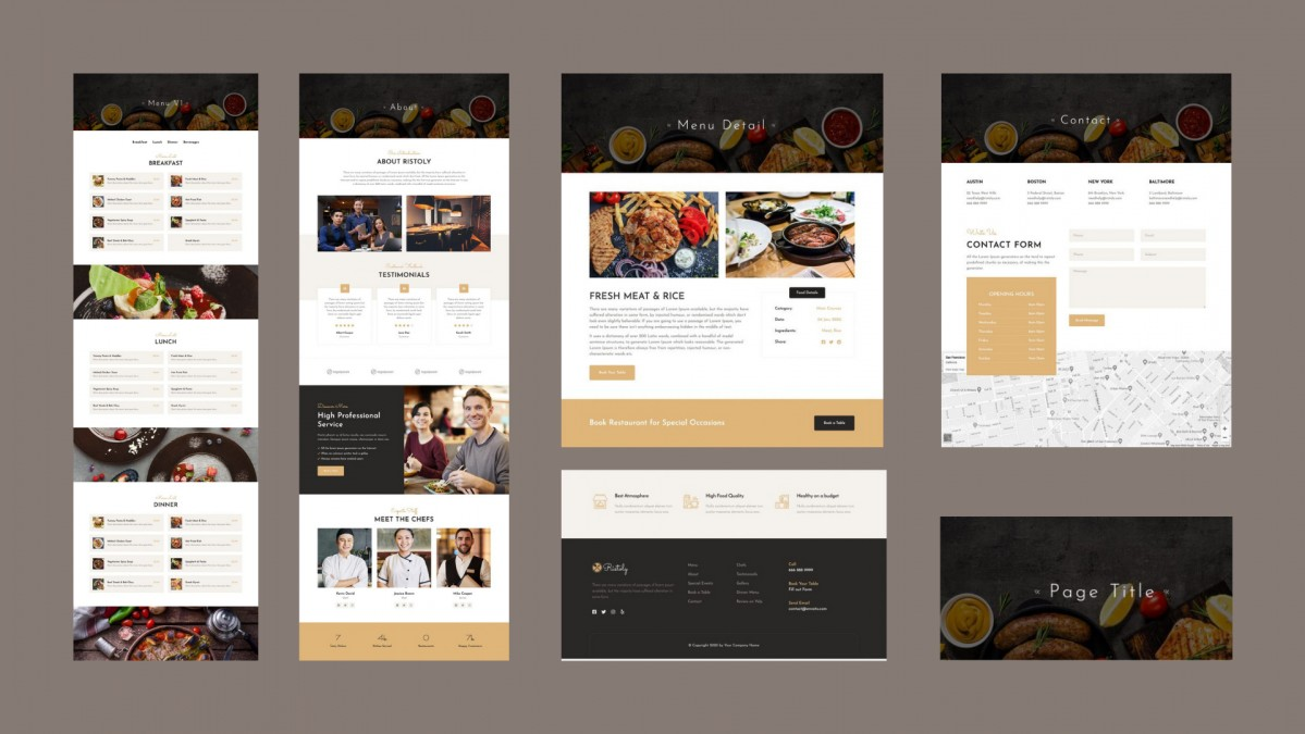 WordPress 14 ready-made templates for cafes and restaurants