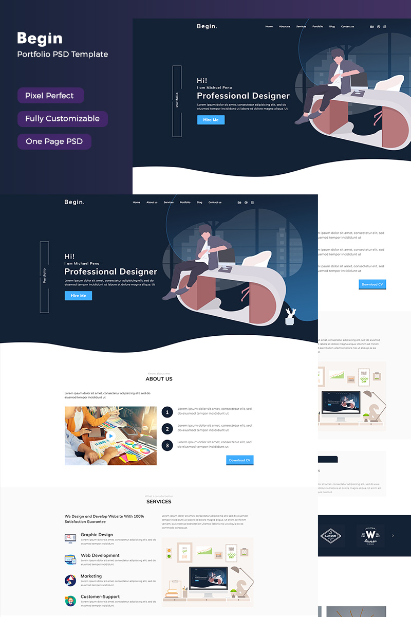 Photography website PSD Template