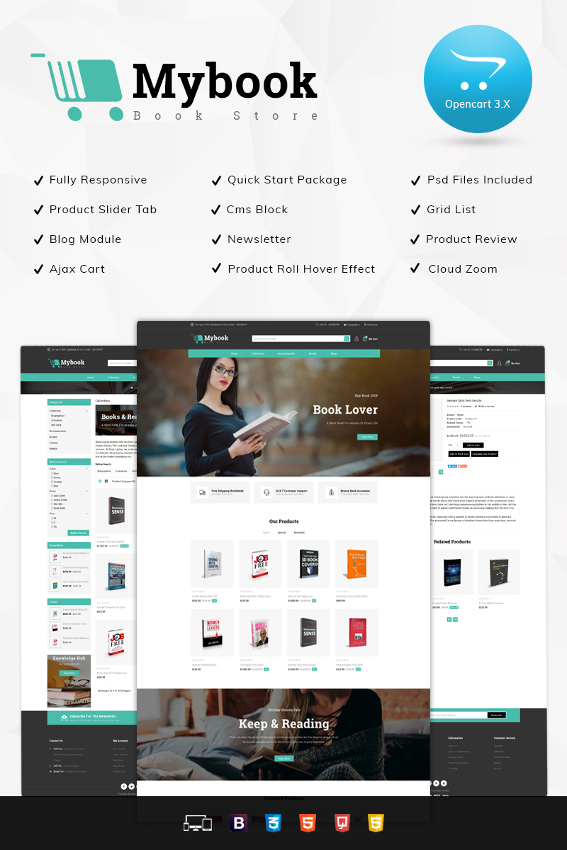 Scientific, e-commerce OpenCart template