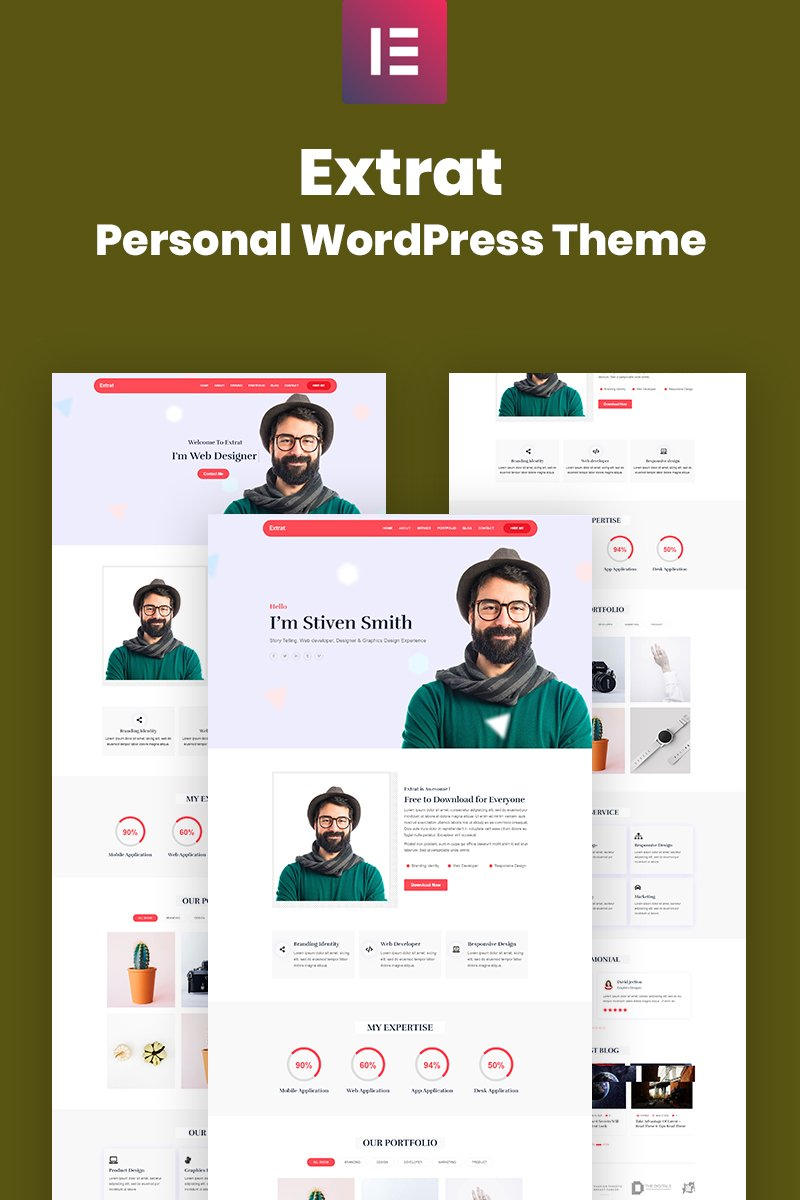 Blog, Business card website WordPress Template