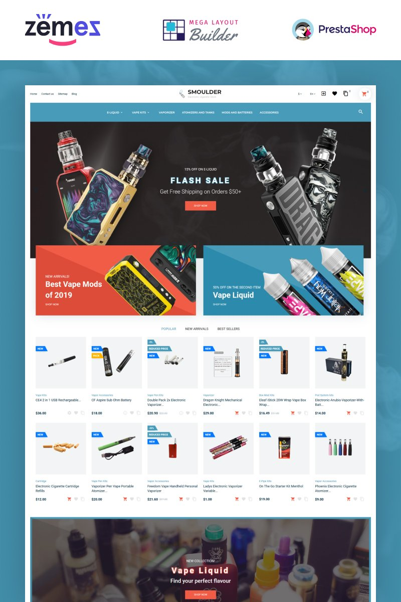 E-commerce, Tobacco industry PrestaShop Template