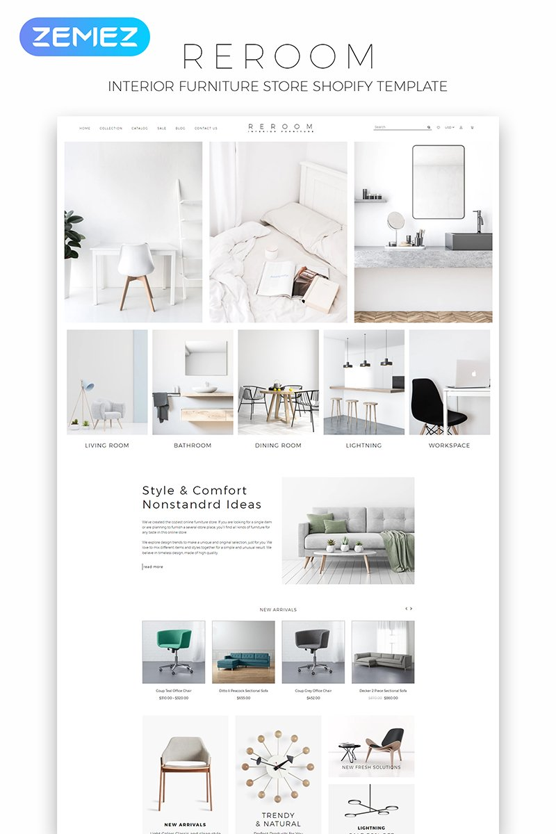 E-commerce, Interior design Shopify Template