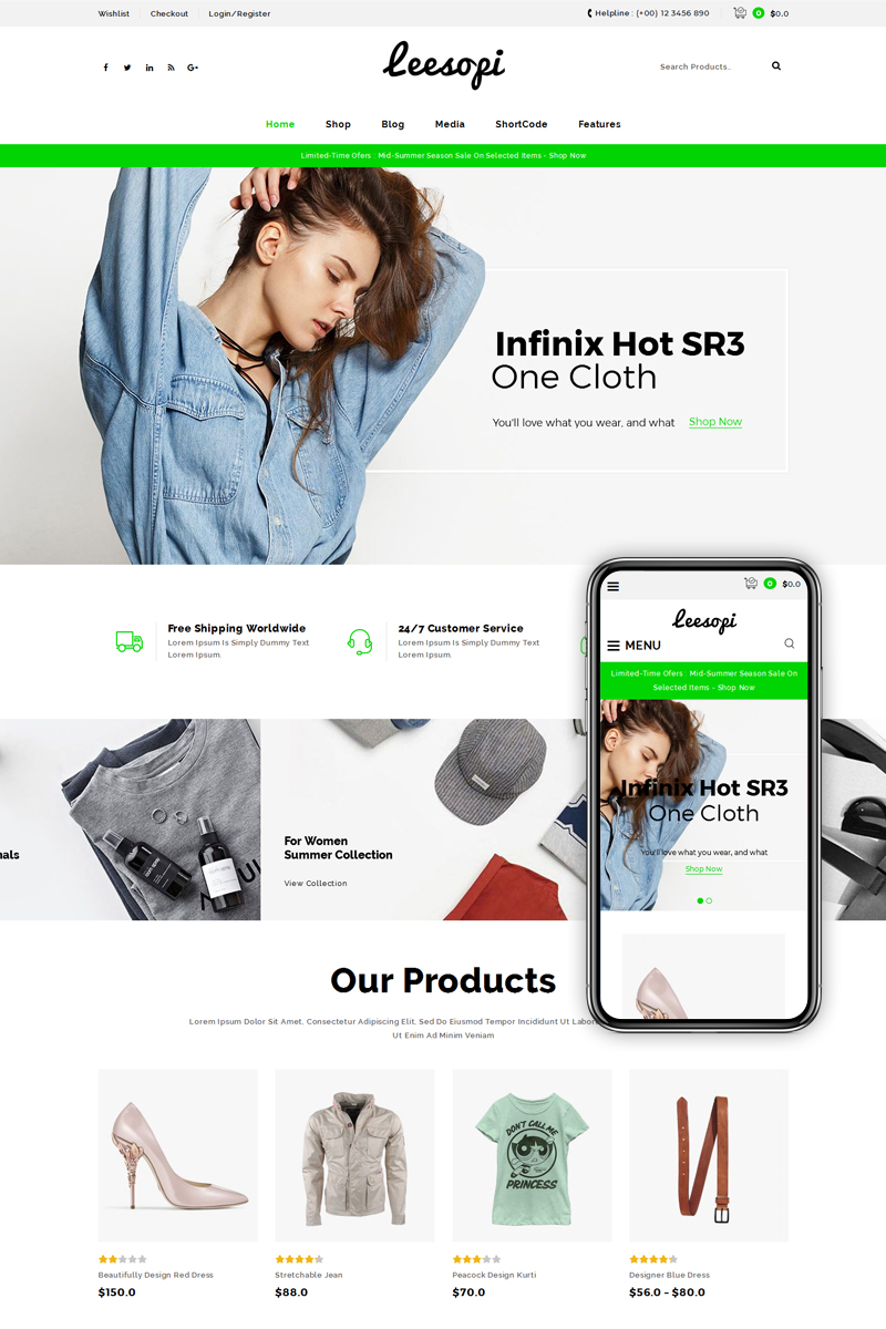 Wedding website, e-commerce WooCommerce template at a price