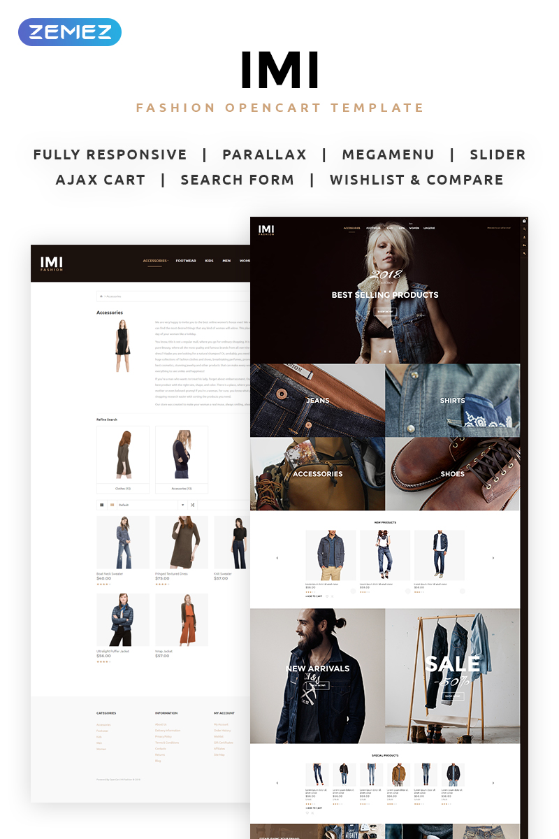 Wedding website, e-commerce OpenCart template