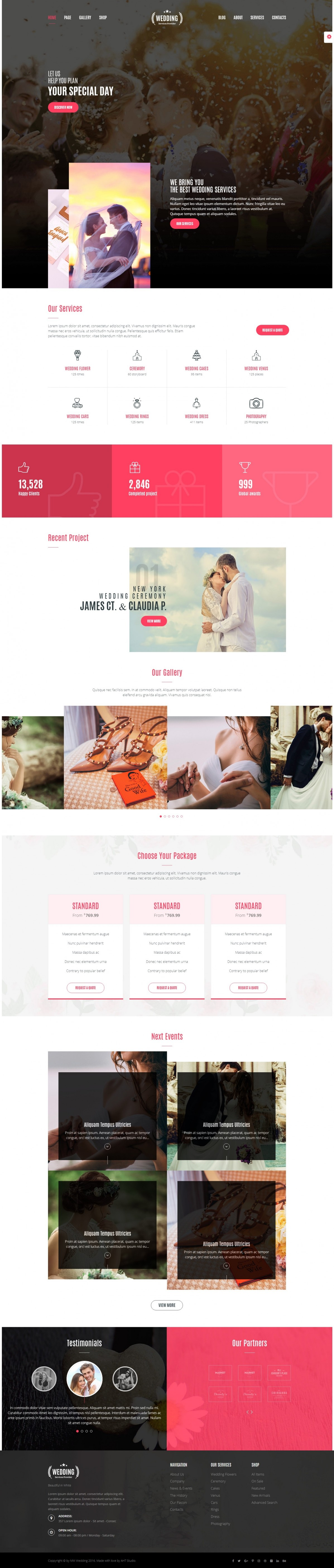 Festive events, Wedding website WordPress Template