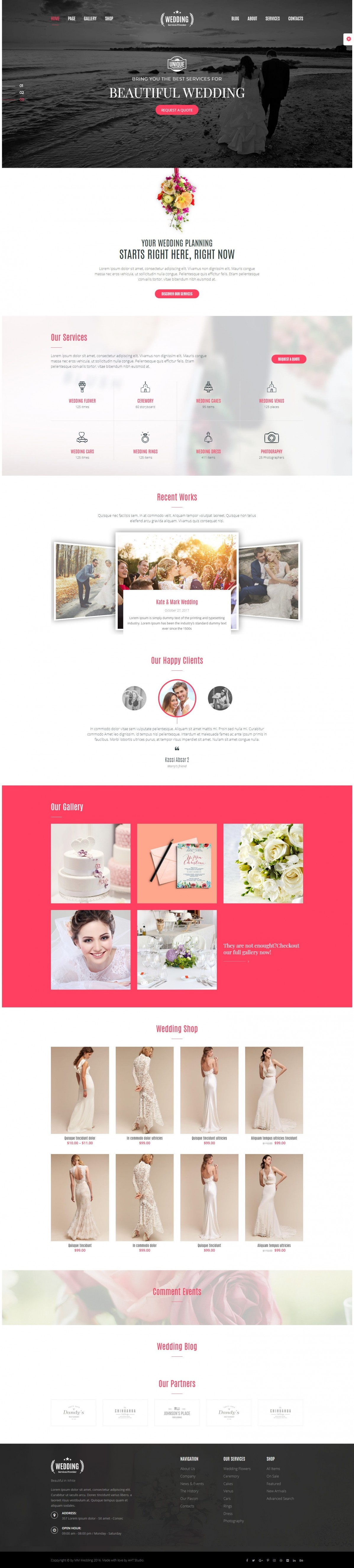 E-commerce, Wedding website WordPress Template