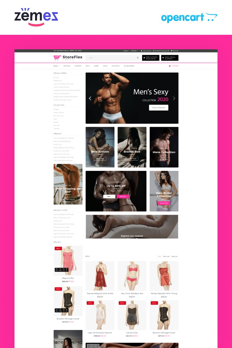 E-commerce, Fashion store OpenCart Template