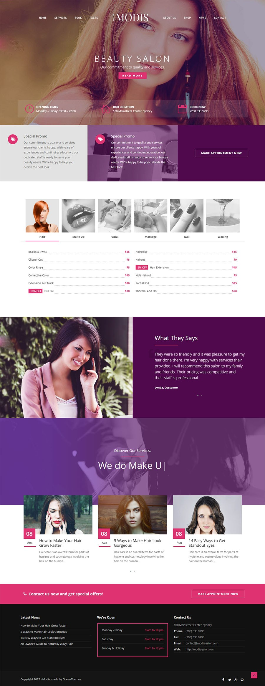 Business, Beauty WordPress template at a price of 8