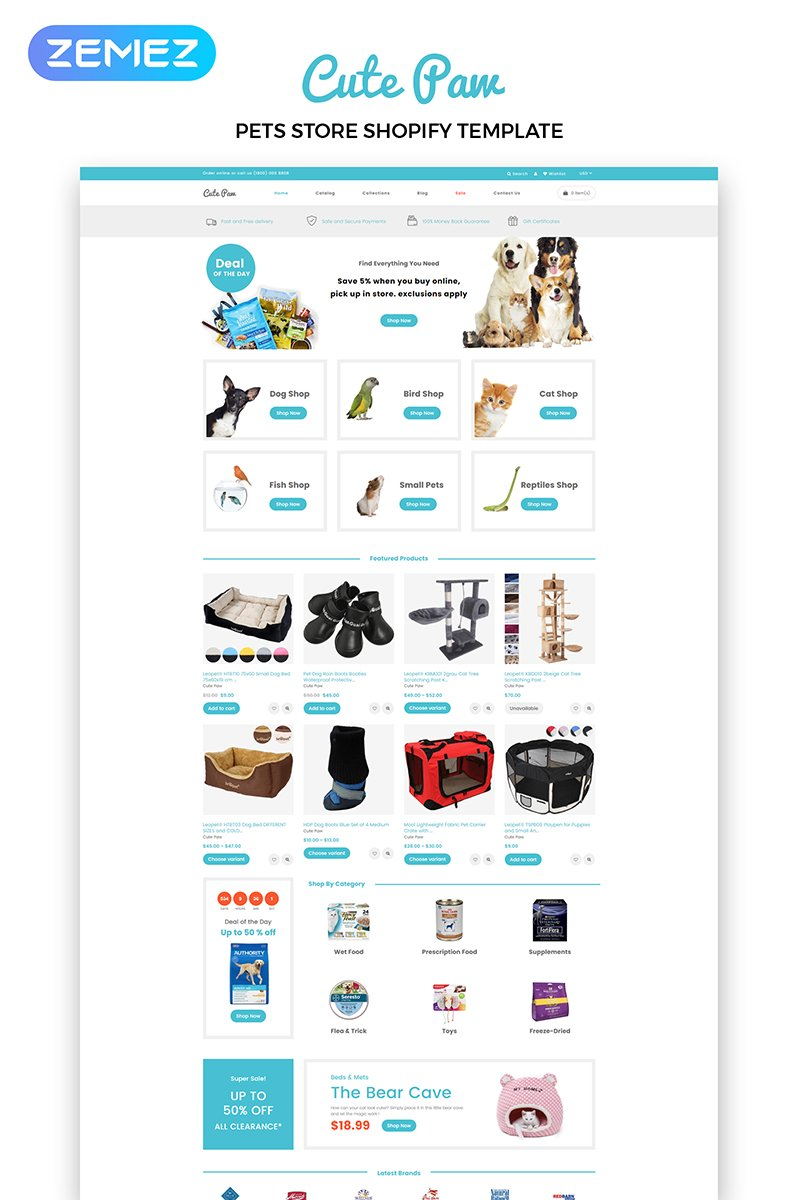 Animals, e-commerce Shopify Template