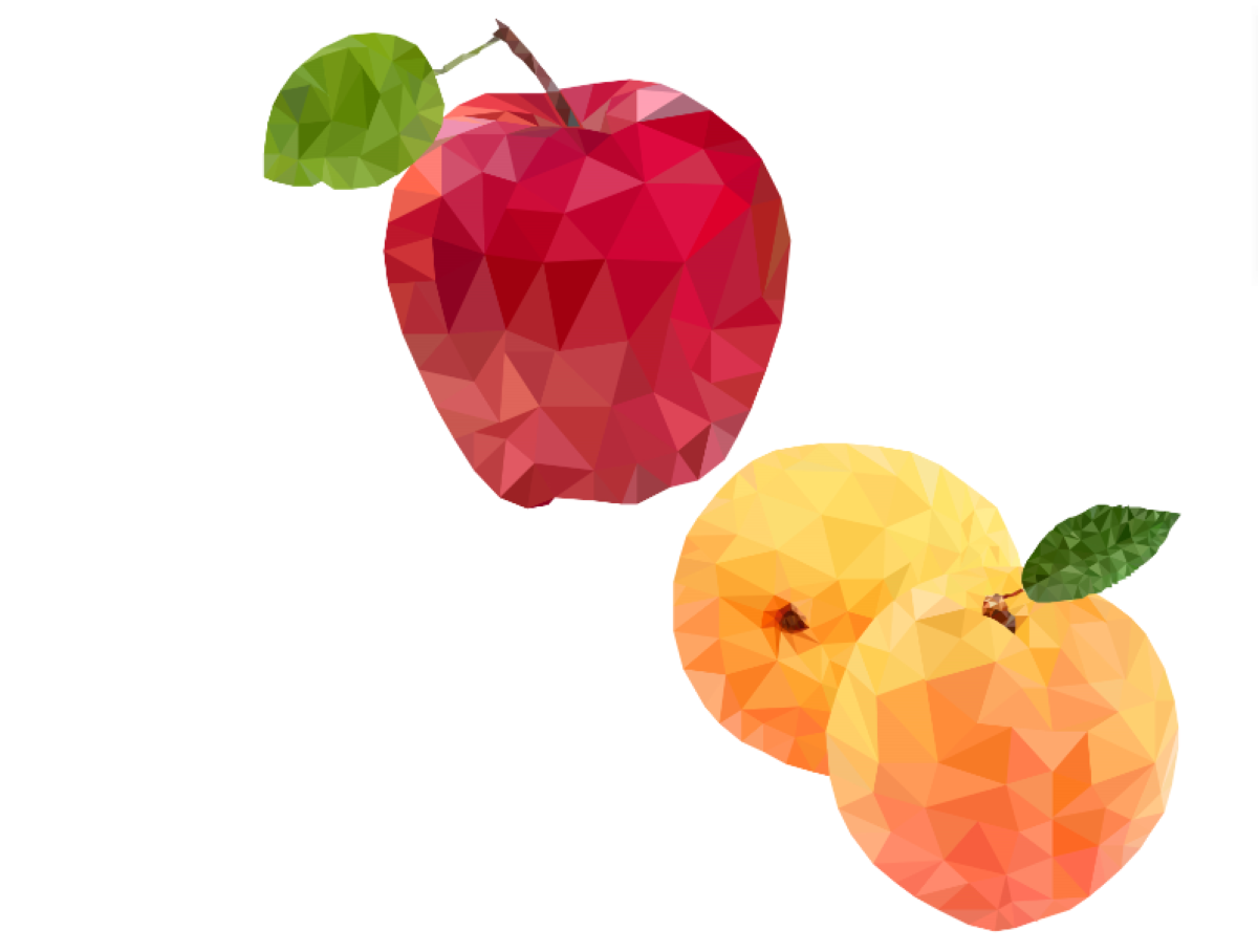 Apple, Apricot Low Poly.