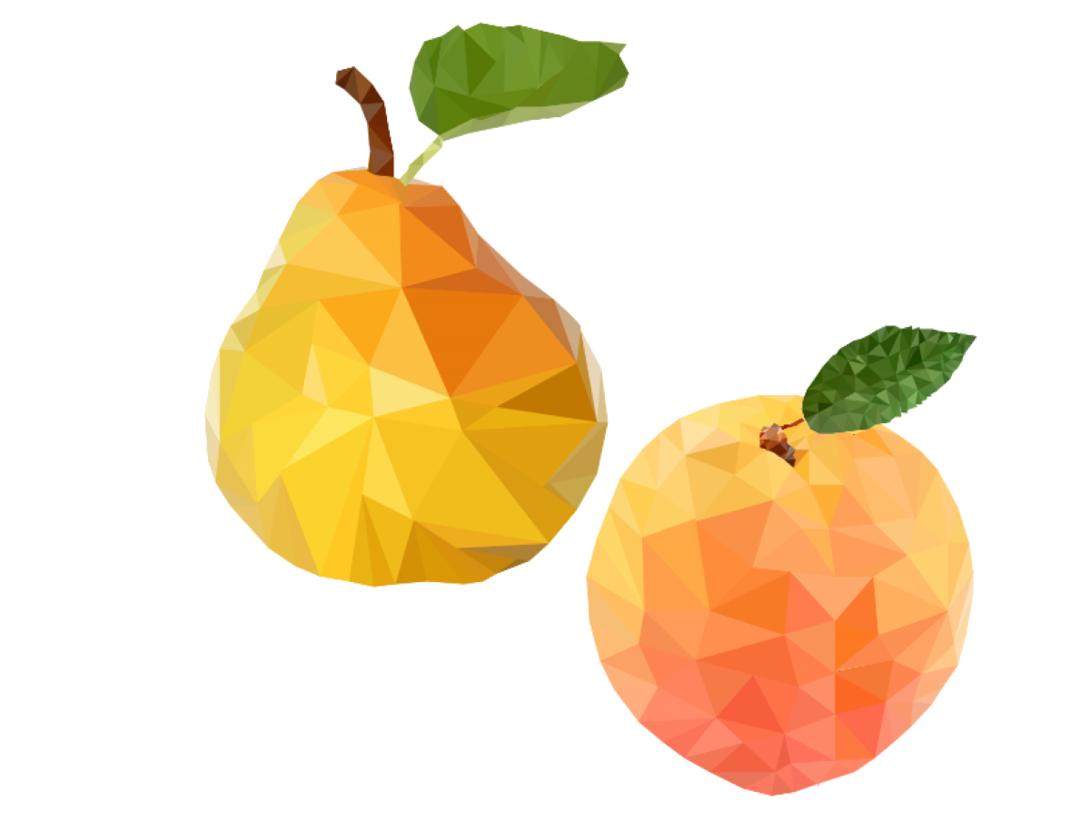 Pear, Peach Low Poly.