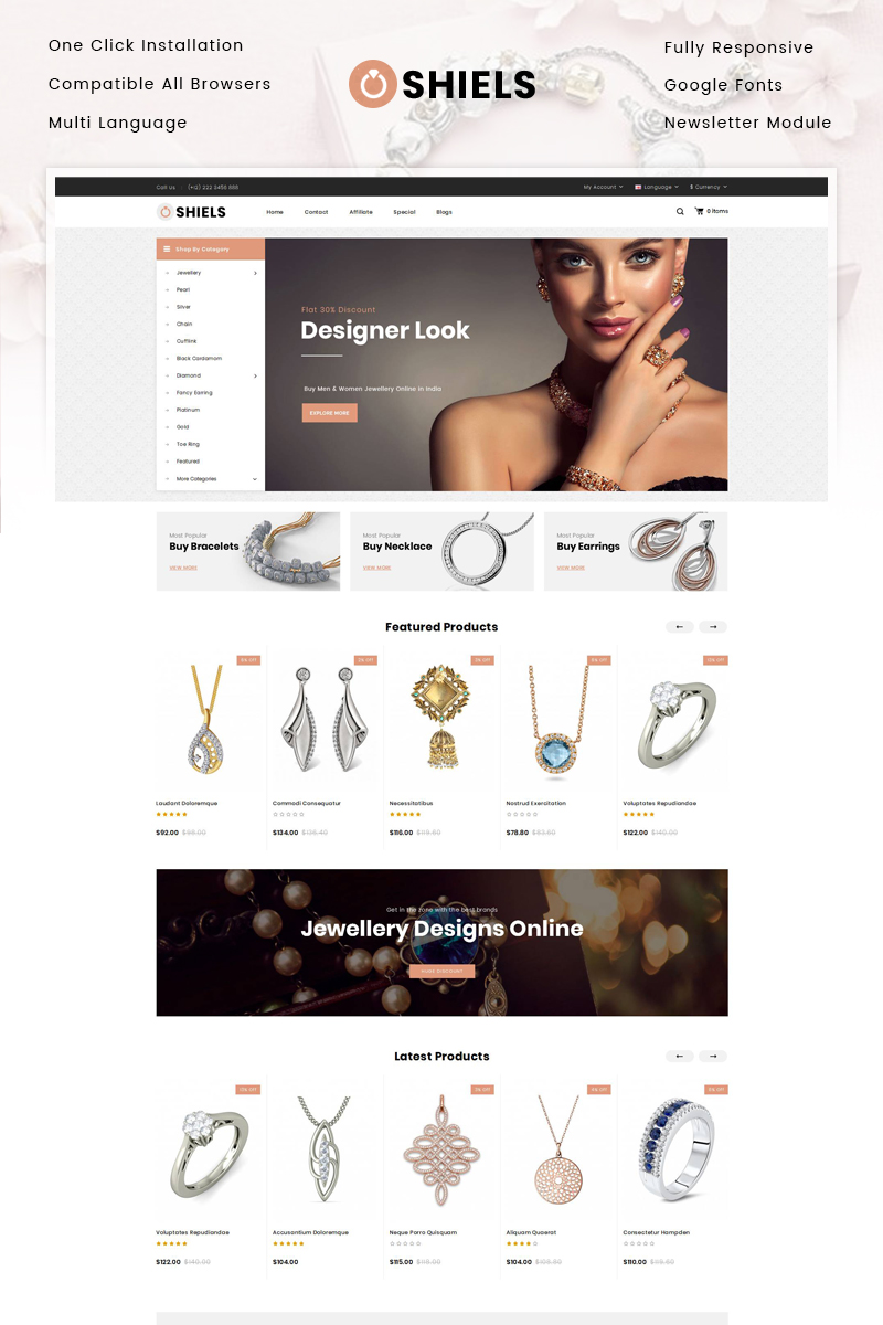 E-commerce, Online jewelry store OpenCart Template