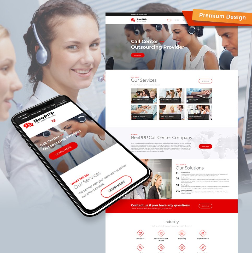 Business, Communications company Moto CMS 3 Template