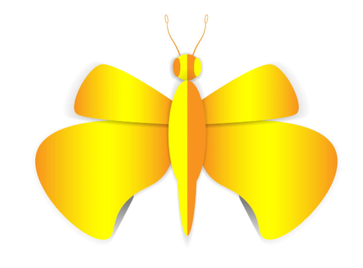 The butterfly is yellow