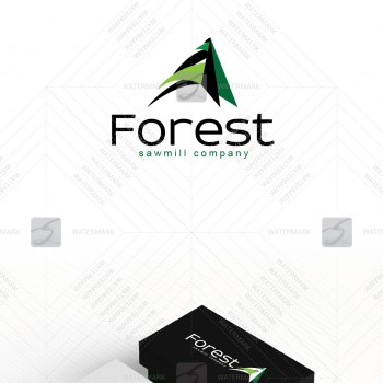 Logo of company working with forest, landscape, eco construction