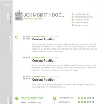 PSD template of job resume