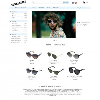 Online store sunglasses