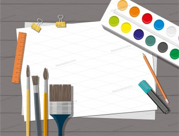 Hobby: Paints, brushes, pencils, pen, paper, Back to school