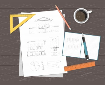 Paper with ruler, pencil, pen, coffee and calculator on the table