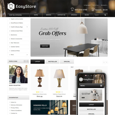 Photography website, e-commerce OpenCart template