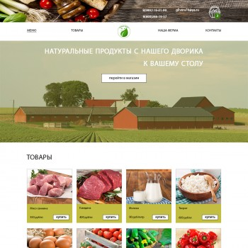 The unique design of the site for the sale of natural food