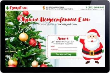 Landing Page selling Christmas trees