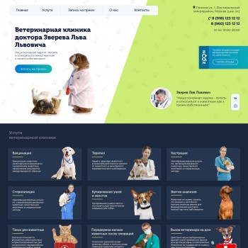 Tamplate for veterinary clinic. Landing page.