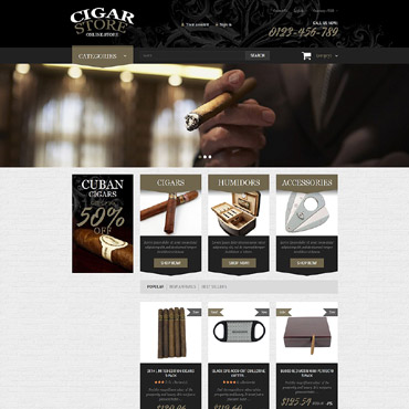 Tobacco industry, e-commerce PrestaShop template
